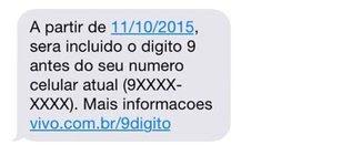 SMS avisa de mudanças (Foto: Reprodução)