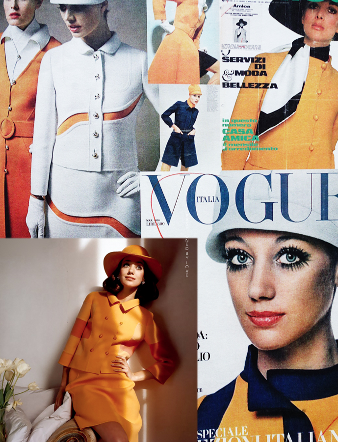 Marisa Berenson wearing Mila Schon in Vogue US and Mila Schon designs in various Italian fashion publications via www.fashionedbylove.co.uk