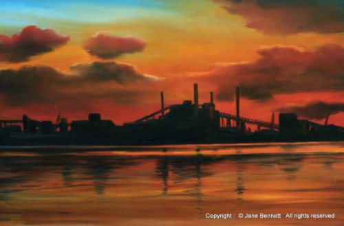 plein air oil painting of  BHP steelworks Kooragang Island by industrial heritage artist Jane Bennett
