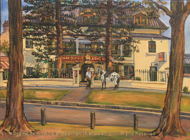 plein air oil painting of colonial heritage architecture, the Macquarie Arms in Thompson's Square, Windsor, painted by artist Jane Bennett