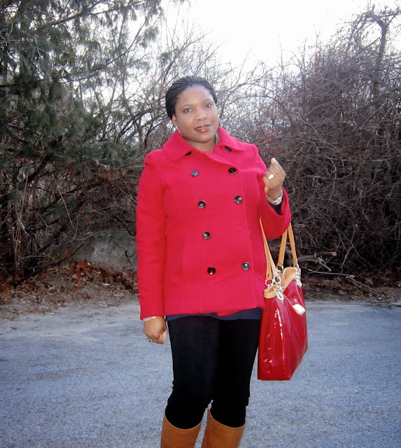 red tote, marc fisher, nine west boots, ponte pants