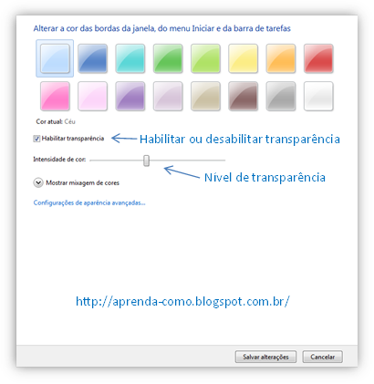 Configurações de cores do aero windows 7