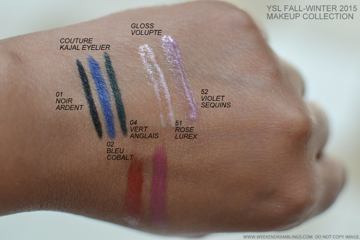 YSL Fall 2015 Makeup Collection Rebel Metal swatches - Couture Kajal Eyeliners - 01 Noir Ardent 02 Bleu Cobalt 04 Vert Anglais Gloss Volupte 51 Rose Lurex 52 Violet Sequins