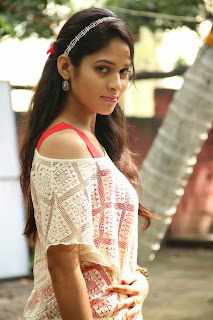Sanya Thara in Red Tank Top with Transparent White T Shirt and Tight White Leggings Red Shoes