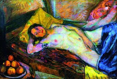 Anton Faistauer - Femme couchée et pommes ( 1911 )