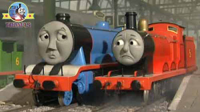Thomas the train & friends Gordon and James the really splendid red locomotive both look worried