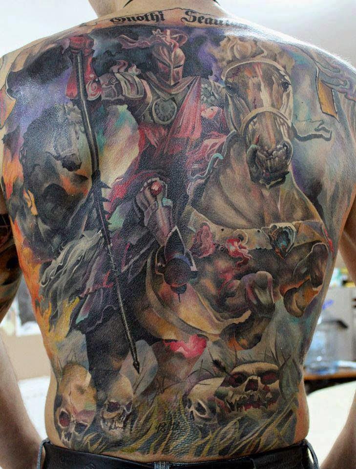 Realistic knight portrait tattoo on back