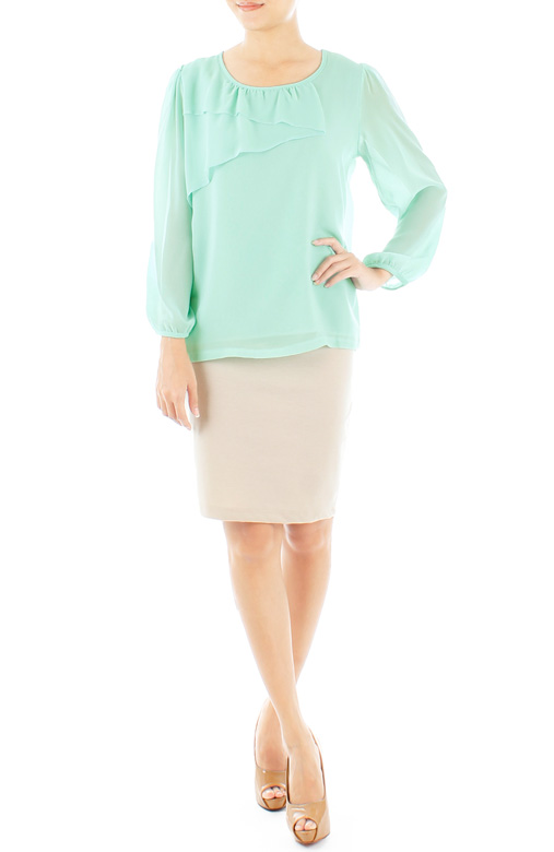 Mint Zig-Zag Long Sleeve Chiffon Blouse