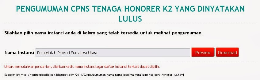 Pengumuman Nama-Nama Peserta yang Lulus Tes CPNS Honorer K2