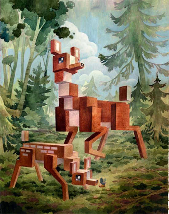 Animal pixel series Menagerie by canadian artist Laura Bifano #etsy #art