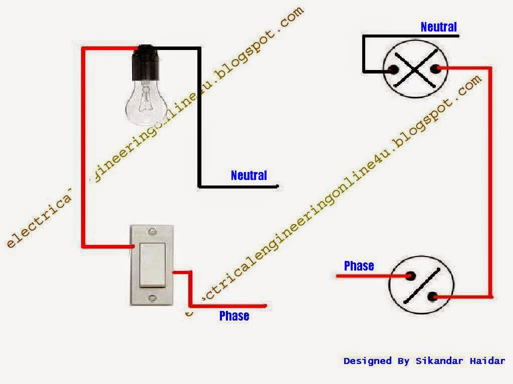 wiring%2Bof%2Bcontrolling%2Blight%2Bfrom%2Bone%2Bway%2Bswitch how to wire bulb by one way switch electrical online 4u one way switch wiring diagram at gsmx.co