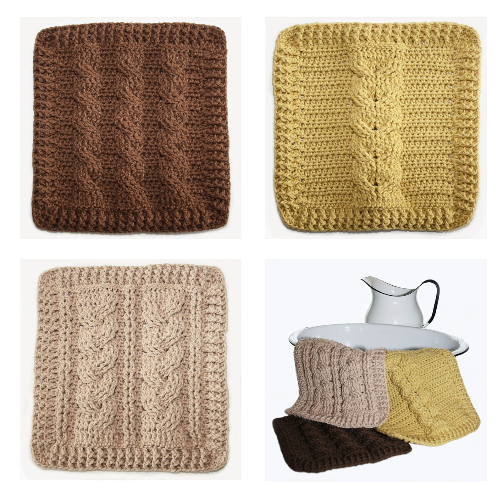 Cable Knit Dishcloth Pattern : knot sew cute design shop: new crochet pattern - cable sampler dishcloths by ...