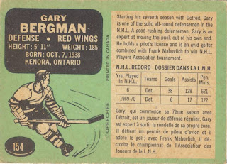 1970-71 O-Pee-Chee 154 Gary Bergman - reverse