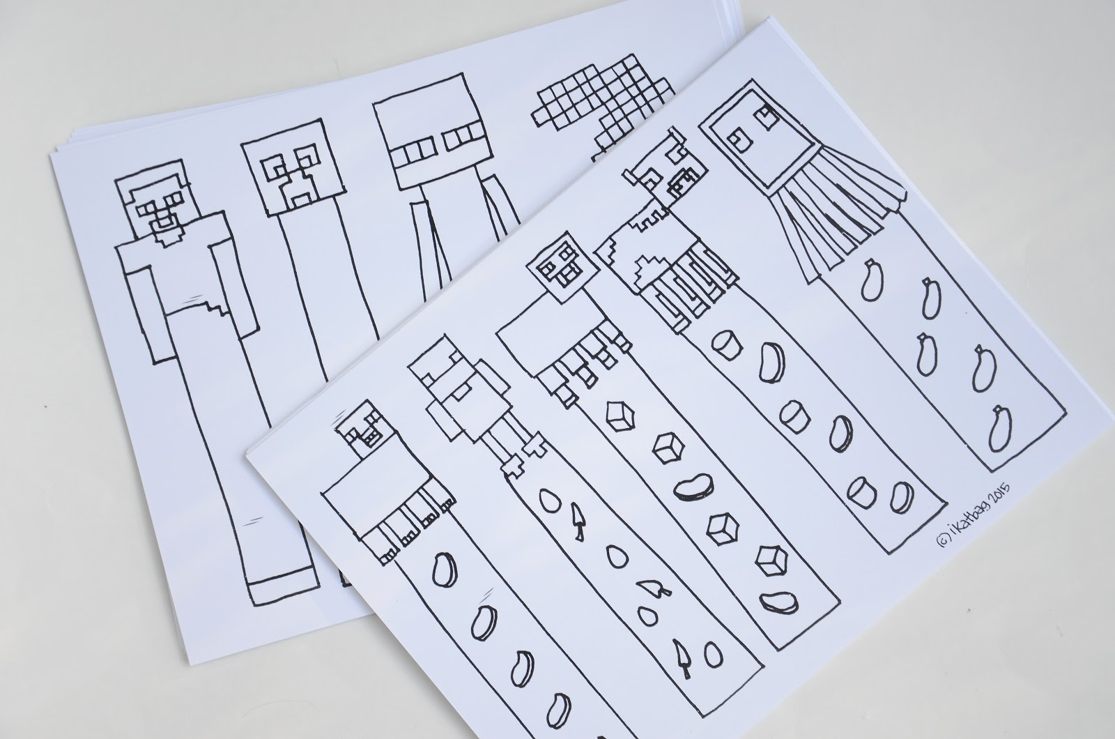 photograph about Minecraft Bookmarks Printable called ikat bag: Minecraft Occasion: Coloring Bookmarks, Composing