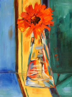 Orange delight gerbera painting by Marion Hedger