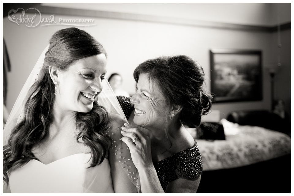 moment between mother and bride during getting ready