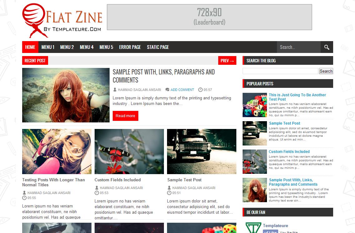 Flat Zine Blogger Template
