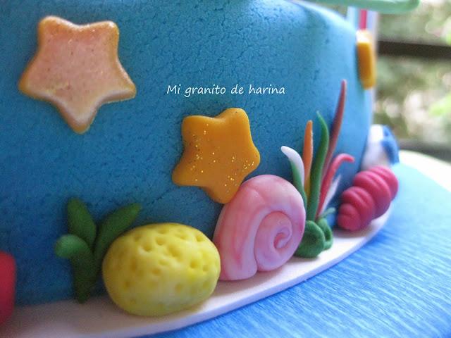 Detalles de tarta de fondant de La Sirenita