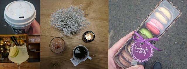 Káva s sebou z My Food Marketu, limonáda v Baru, který neexistuje, káva a smoothie ve Forky's, Makronky od Hanky z FoodParku