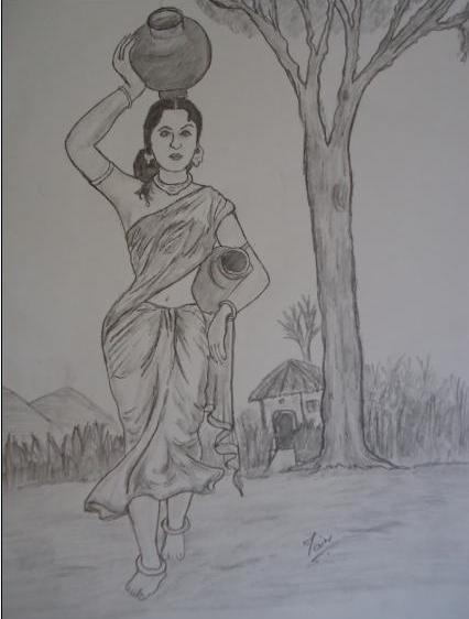 Pencil Sketches Drawing Desi Woman