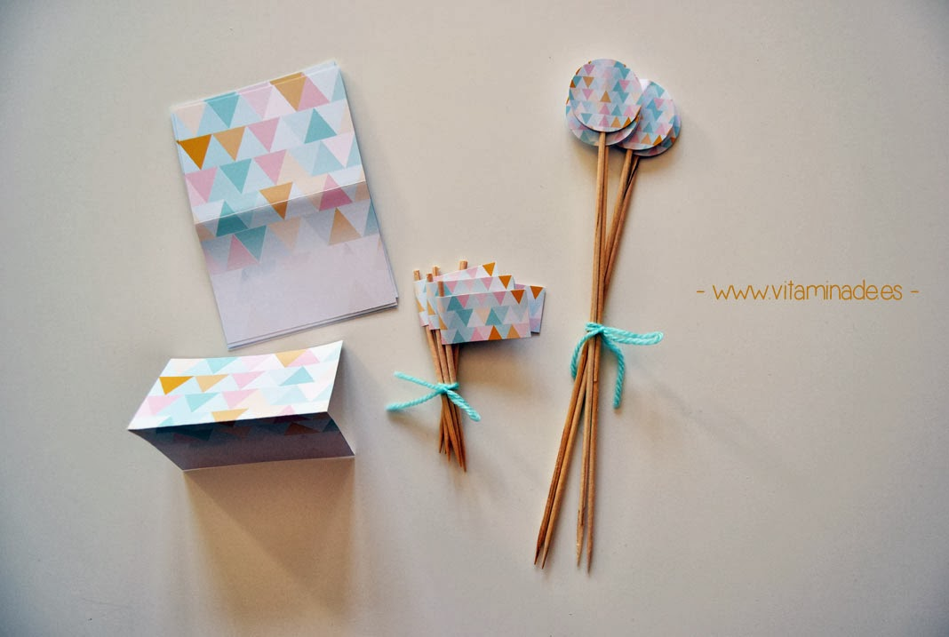 candy bar triangles en rosa y verde