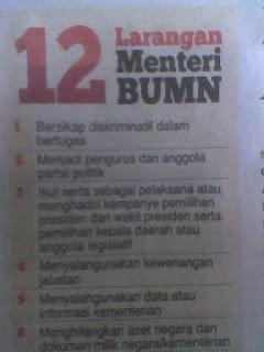 12 larangan menteri BUMN