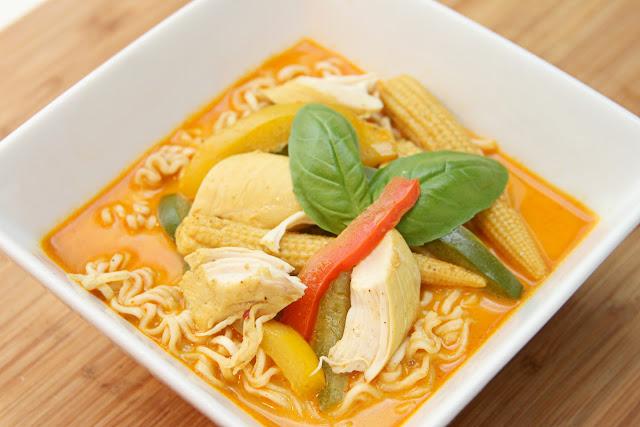 chicken laksa (curry ramen soup)