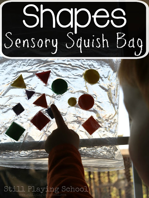 Kids learn to identify shapes and colors by creating this sensory shape squish bag!