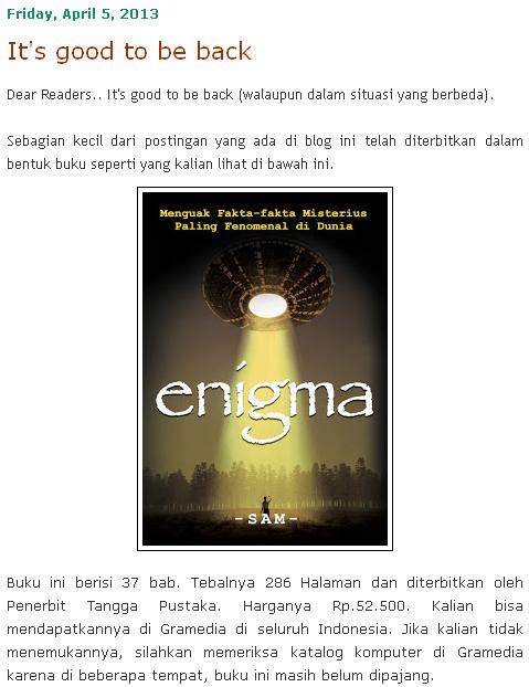 Blog Misteri Enigma Kembali dengan Buku #Enigma