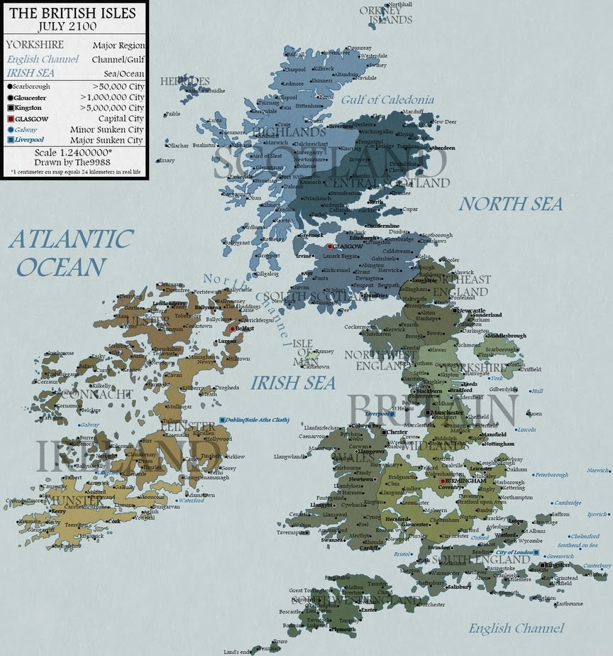 this is the map of the british isles in fictional 2100 rising sea level scenario to see map of entire europe follow this link