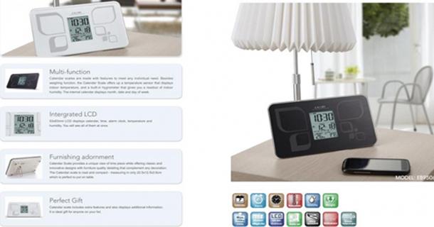 Cân điện tử Camrycó chức năng đồng hồ và lịch để bàn