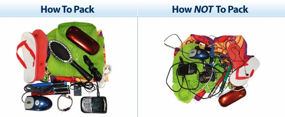 Example of organized bag and cluttered bag.