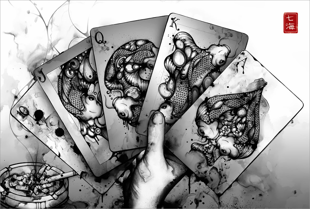02-Royal-Flush-Nanami-Cowdroy-Splashes-of-Ink-Drawings-www-designstack-co