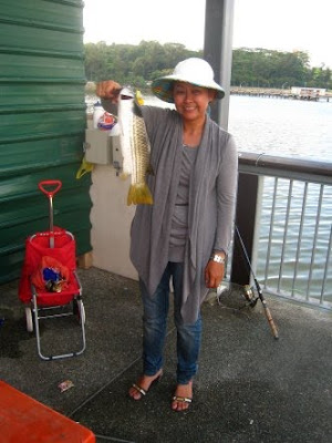 Mullet or Chow Orh [ 草乌 ] Double Hookup by Ah Ling and Joanne weighing 1.5kg plus at Woodland Jetty Fishing Hotspots was created to share with those who are interested in fishing on tips and type of fishes caught around Woodland Jetty Fishing Hotspots.