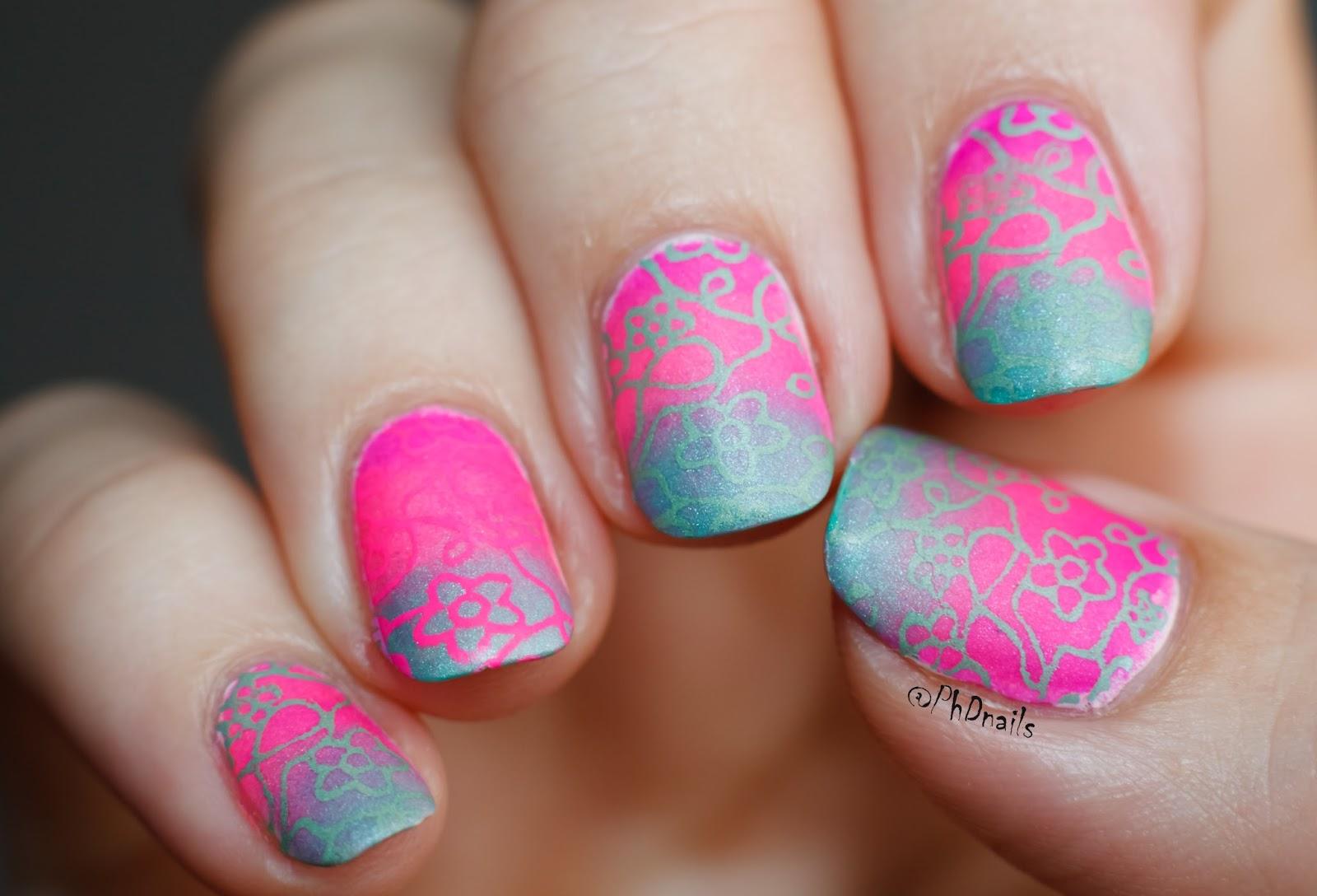 Nail Art Pink Green Harmony