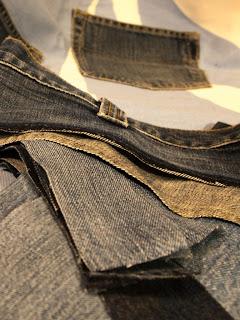 lappteknik jeans återbruk