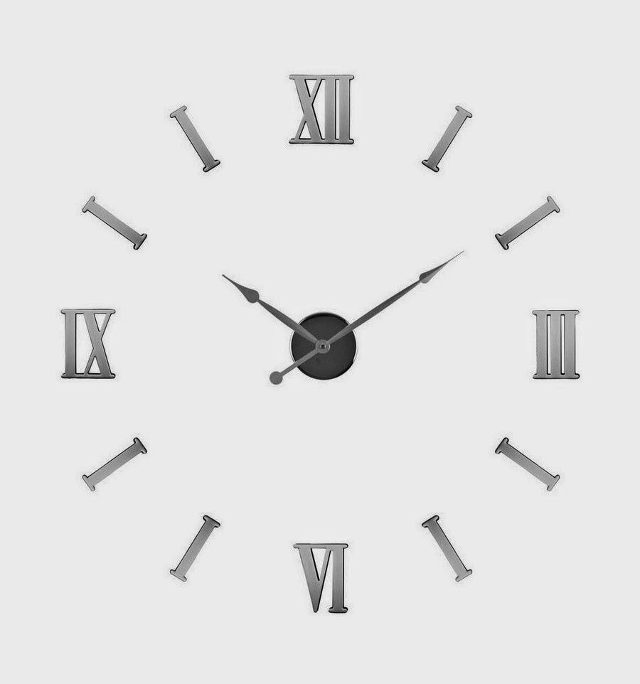 Reloj adhesivo de pared con números romanos