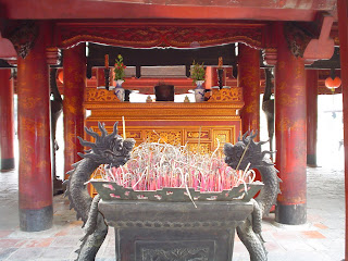 Main hall dragons. Temple of literature. Hanoi, Vietnam