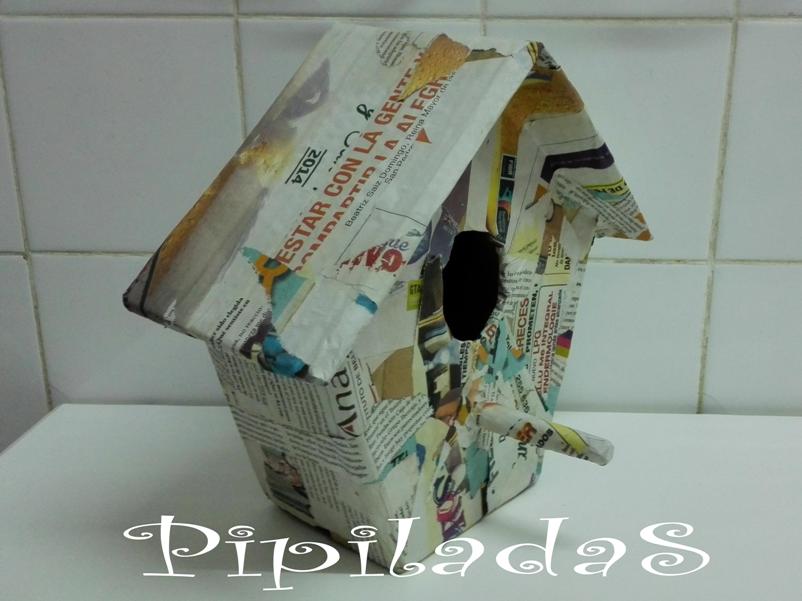 Casa de p jaros de papel mach y tela - Casa para pajaros ...