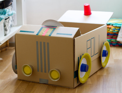 Cardboard craft;A police car