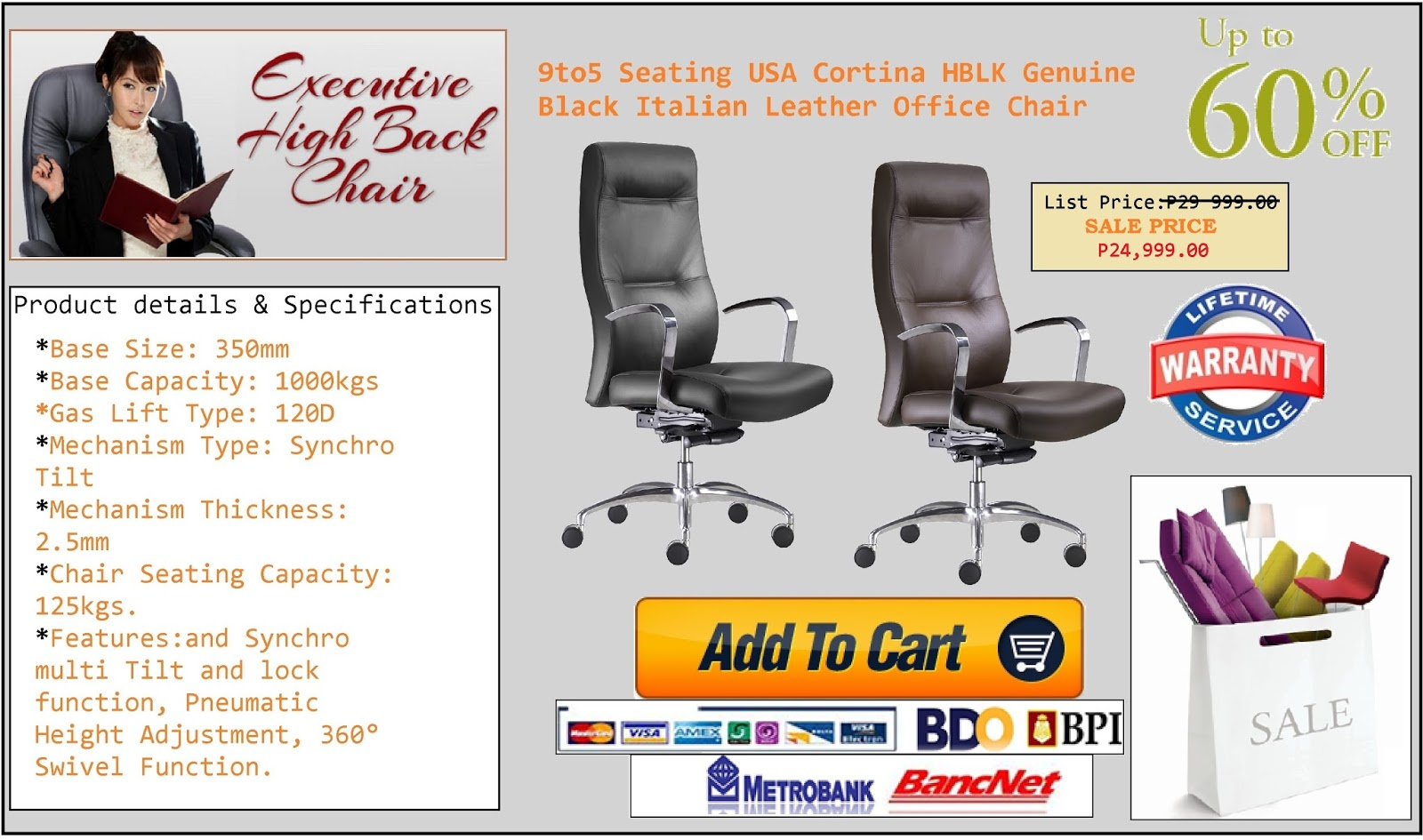 USA Brand Cortina Office Chairs With Lifetime Service Warranty