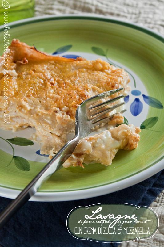 lasagne di farina integrale di kamut con crema di zucca e mozzarella