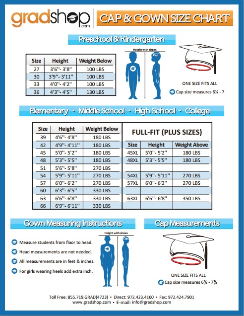 Graduation Shop: Learn About The Cap and Gown Size Chart