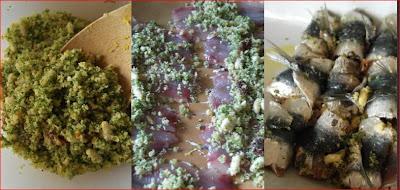 Sarde a beccafico farciamo con uvetta, pnoli e mollica di pane