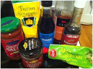 various prepared sauces and dips with more than six ingredients