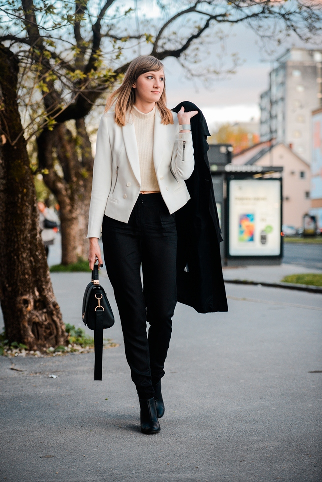 nude and black outfit, ootd, asos peg leg pants, topshop beige top, zara nude blazer, style blogger, fashion blogger