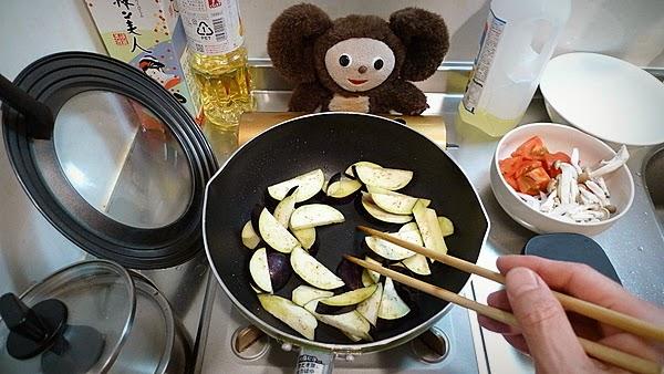 ナスとトマトが入った豚しょうが焼きの作り方(1)