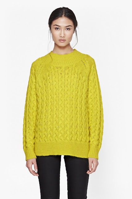 french connection yellow jumper, yellow cable jumper,