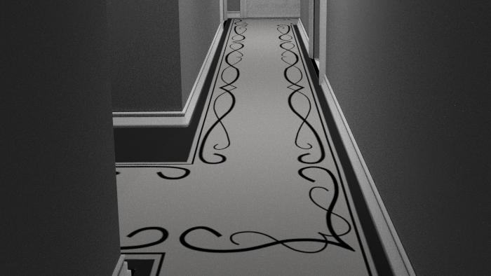 Completed 3D render of hallway concept design using Blender 2.7