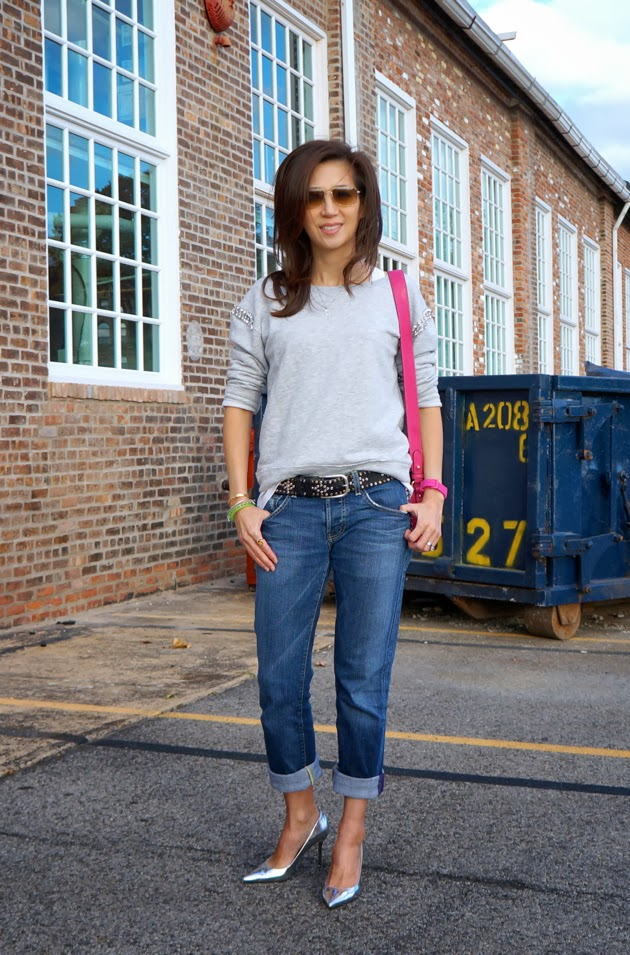Josephina_Collection, Full_Outfit_pic, Jewel_Embellished_Zara_Sweatshirt, Cropped_Rich_&_Skinny_Jeans, Isabel_Marant_Studded_Belt, Silver_Jimmy_Choo_stilettos